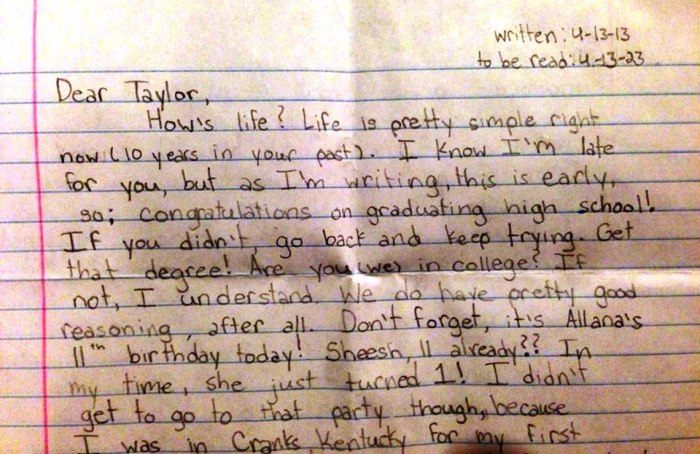 Taylor wrote the letter just six days after returning from a church-related mission trip.