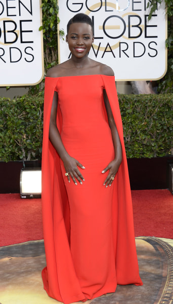 BEVERLY HILLS, CA - JANUARY 12:  71st ANNUAL GOLDEN GLOBE AWARDS -- Pictured: Actress Lupita Nyong'o arrives to the 71st Annual Golden Globe Awards he...