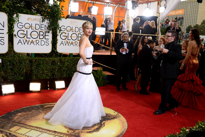 Jennifer Lawrence arrives at the 71st annual Golden Globe Awards at the Beverly Hilton Hotel on Sunday, Jan. 12, 2014, in Beverly Hills, Calif. (Photo...