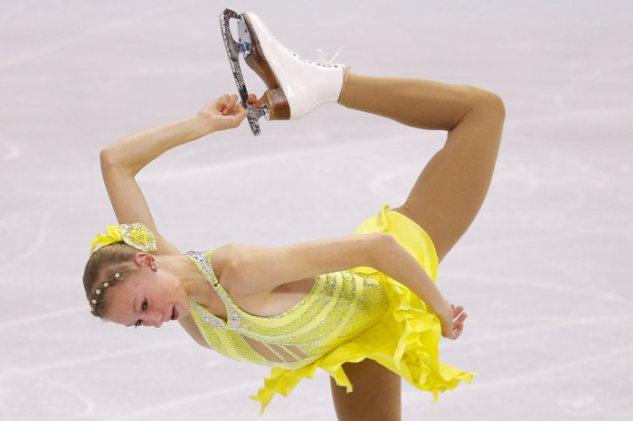 Polina Edmunds competes in the women's short program competition at the U.S. Figure Skating Championships in Boston, Massachusetts January 9, 2014.   ...