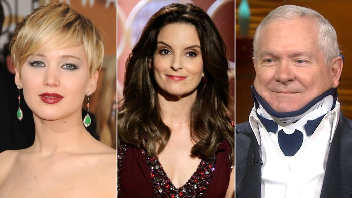 Jennifer Lawrence inspires, Tina Fey hosts the Globes and Robert Gates clarifies claims.