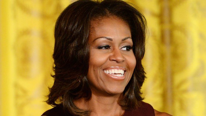 epa04018515 (FILE) A file picture dated 20 September 2013 shows US First Lady Michelle Obama delivering remarks during a luncheon in honor of the winn...