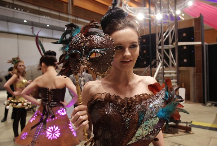 Models prepare backstage for the Chocolate Fashion Show in Seoul, South Korea.
