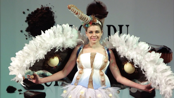 A model spreads her chocolate wings at the Chocolate Fashion Show in Seoul, South Korea.