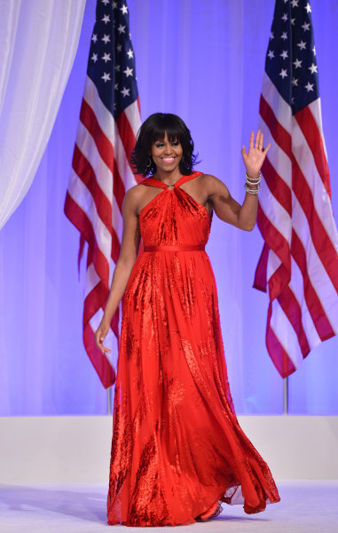 US President Barack Obama and First Lady Michelle Obama attend the Commander-in-Chief's Ball, honoring US service members and their families, at the W...