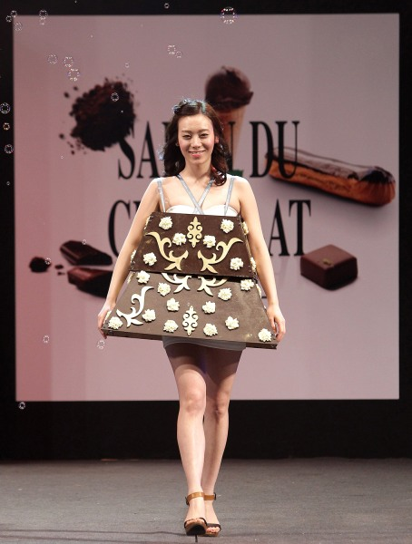 A model walks the runway at the Chocolate Fashion Show on Jan.16 in Seoul, South Korea.