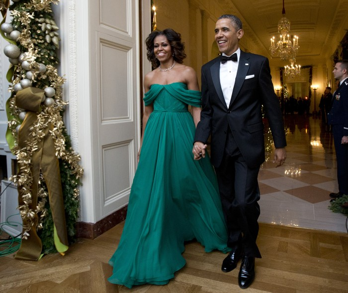 Host President Barack Obama and first lady Michelle Obama, arrive at the 2013 Kennedy Center Honors reception honoring the 2013 Kennedy Center Honors ...