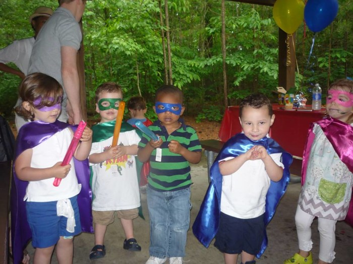 "My son and his friends at his ""superhero"" birthday party!"