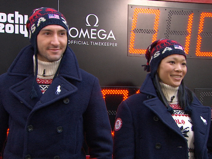 Figure skater Evan Lysacek and ice hockey player Julie Chu showed off Ralph Lauren's U.S. Closing Ceremony parade uniforms for Sochi.