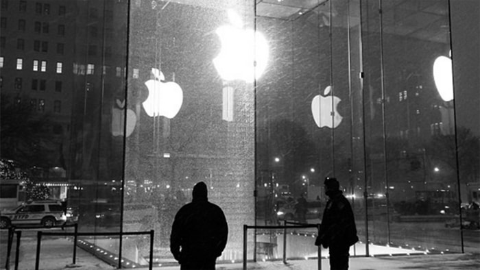 """One of the 15 large panels of glass that make up the iconic Apple """"cube"""" store in Manhattan was a casualty of the snowstorm that hit New York City on Tuesday."""