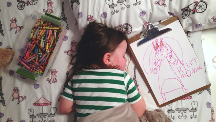 Pretty princess: Riley's moms are pretty low-maintenance, but at the moment she's all about drawing princesses.