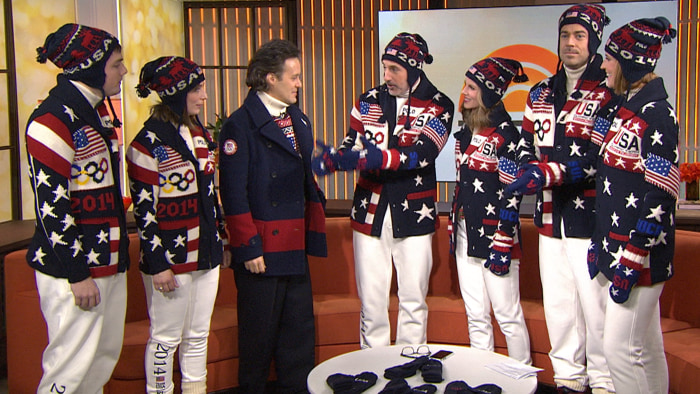 The TODAY anchors got into the Olympic spirit, dressing up in the official Team USA uniforms as Ralph Lauren's David Lauren (center, left) made the big reveal.