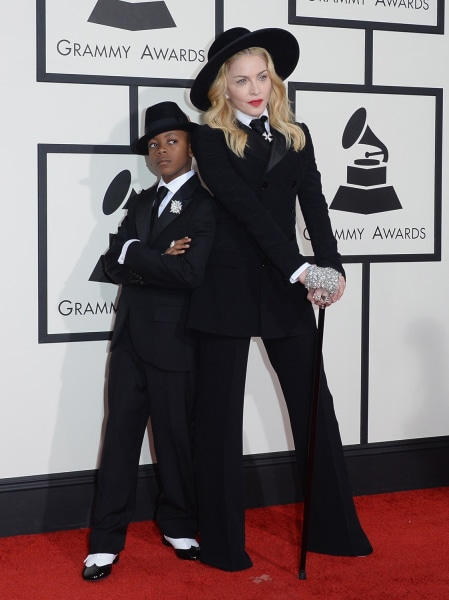 LOS ANGELES, CA - JANUARY 26:  Singer Madonna (R) and son David Banda Mwale Ciccone Ritchie attend the 56th GRAMMY Awards at Staples Center on January...