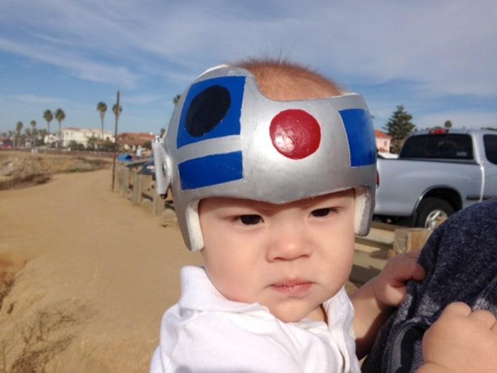 child in helmet