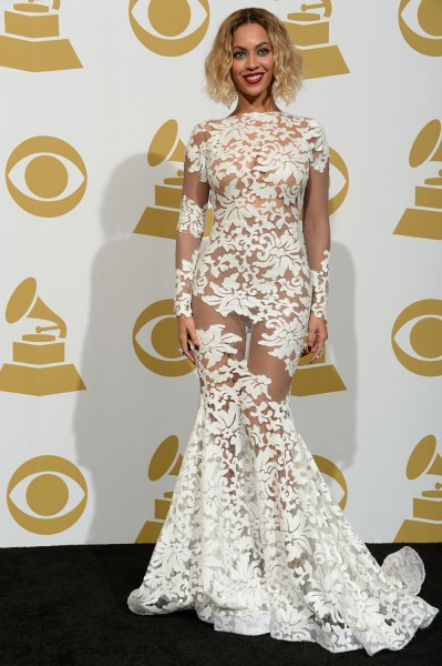 Singer Beyonce Knowles poses in the press room during the 56th Grammy Awards at the Staples Center in Los Angeles on January 26, 2014.   AFP PHOTO/Joe...