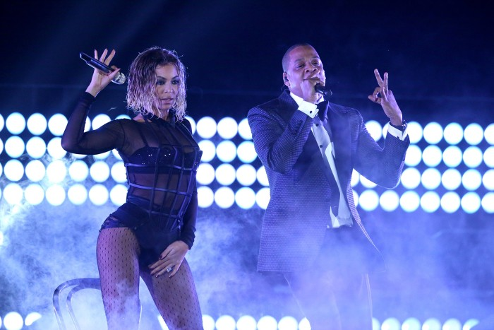 "Beyonce, left, and Jay-Z perform ""Drunk in Love"" at the 56th annual Grammy Awards at Staples Center on Sunday, Jan. 26, 2014, in Los Angeles. (Photo b..."