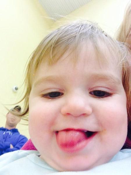 1 year old selfie.