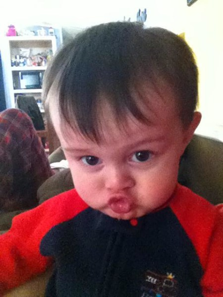 My little one doing his best duckface.