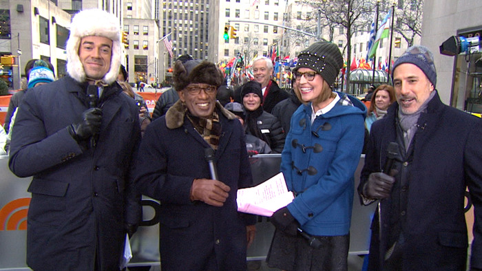 The TODAY anchors bundled up for the frigid weather on the plaza.