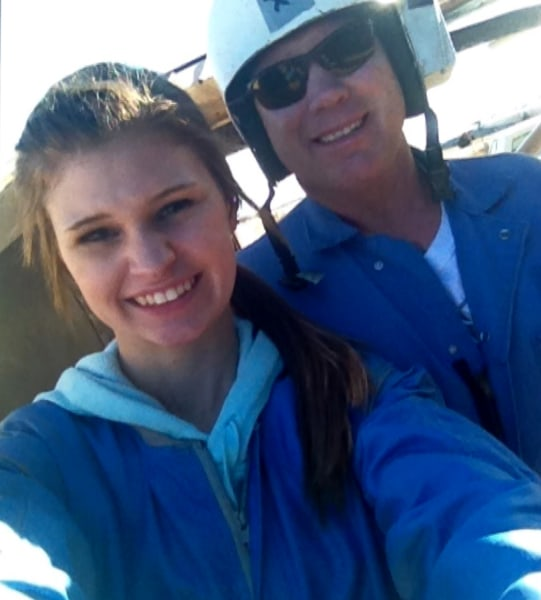 Makenzie's father, Joe Wethington, accompanied her on the jump at Pegasus Air Sports Center in Chickasha, Okla.