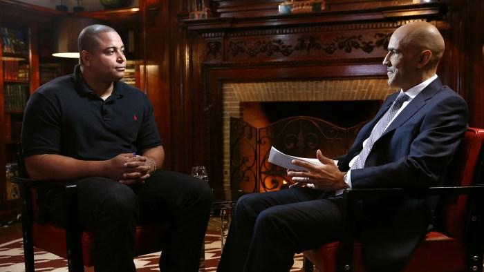 Tony Dungy (right) interviews Jonathan Martin.