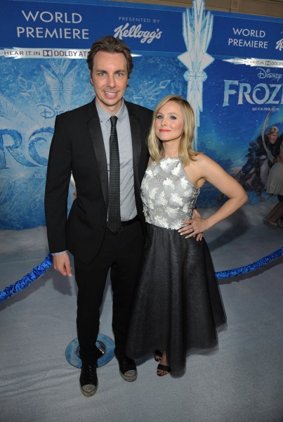 "Dax Shepard, left, and Kristen Bell attend the world premiere of ""Frozen,"" on Nov. 19, 2013, in Los Angeles."
