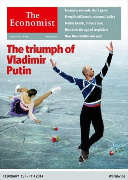 """The Feb. 1 issue of The Economist also depicts Putin as a figure skater, leaving the symbolic """"Russia"""" in his wake."""