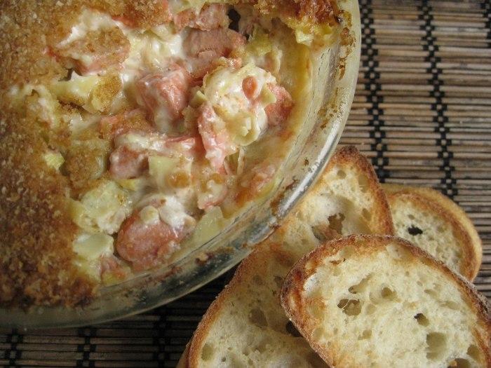 Hot artichoke and salmon dip
