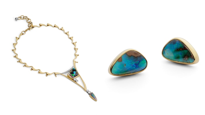 Earrings and an opal necklace designed by Annette Gabbedey.