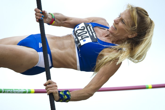 Image: Kay Glynn pole vaults during the 2011 National Senior Games