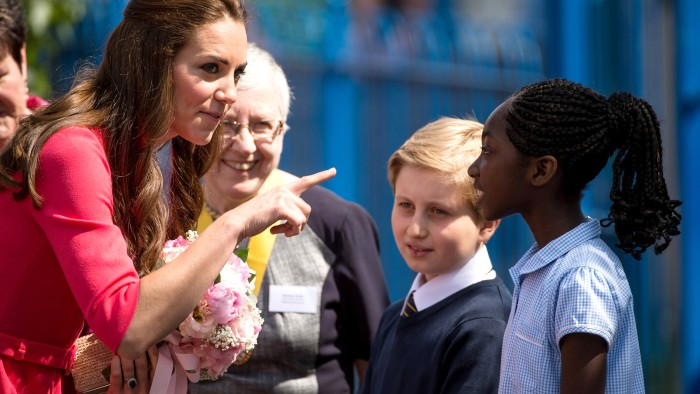 LONDON, ENGLAND - JULY 01: Catherine, Duchess of Cambridge visits an M-PACT Plus Counselling programme at Blessed Sacrament School on July 1, 2014 in ...