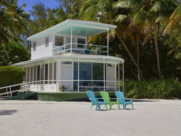 The houseboat comes with its own stretch of sandy beach near Islamorada.