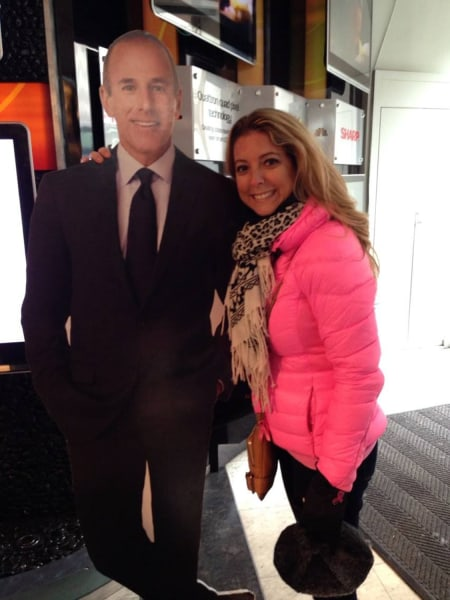No, that's not the real Matt Lauer, just a life-size version of Flat Matt that Crins-Driscoll was photographed with during a tour of NBC's studios in Manhattan.