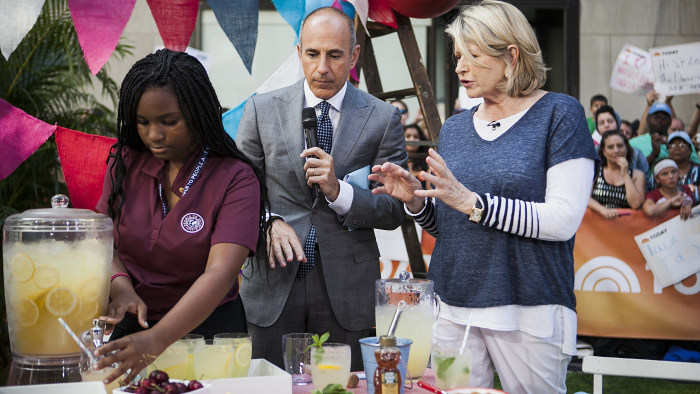 Martha Stewart and Matt Lauer cook Fourth of July meals on the TODAY show in New York, on July 3, 2014.