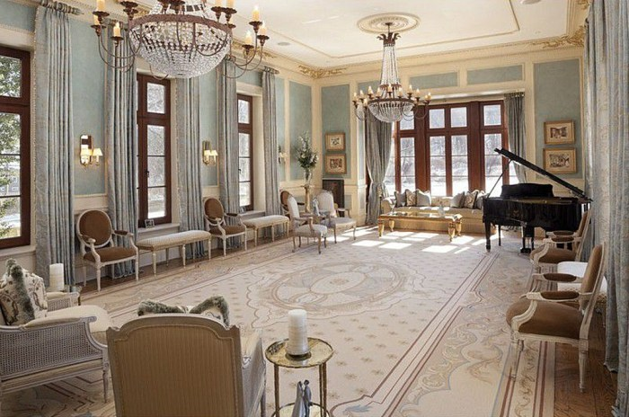 The 16,754-square-foot home has eight bedrooms, 13 bathrooms and this music room.