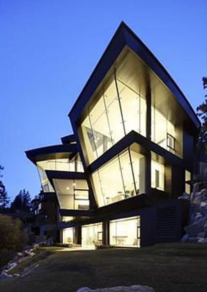 Glass everywhere: This one features a glass elevator and stairwell.