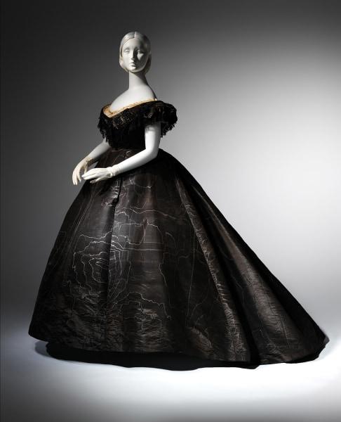Evening Dress, ca. 1861 Black moiré silk, black jet, black lace Lent by Roy Langford (C.I.L.37.1a) Photo: © The Metropolitan Museum of Art, by Karin...