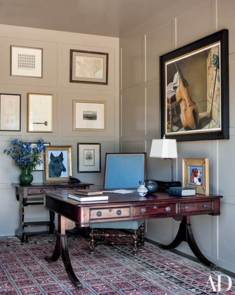 President Bush's study features many of his paintings.