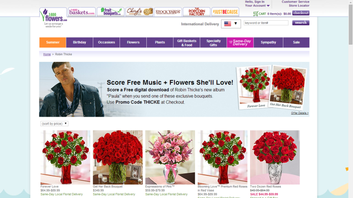 Robin Thicke's collaboration with 1-800-FLOWERS.