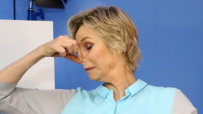 Image: Jane Lynch holding her nose