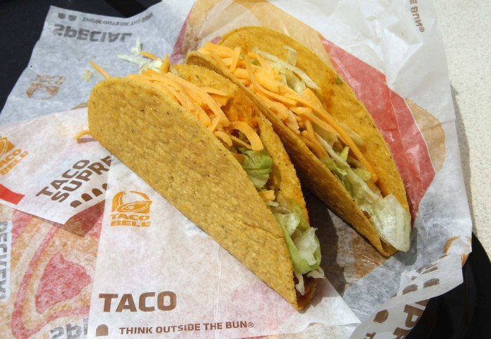 Two crunchy tacos are pictured at a Taco Bell restaurant in Glendale, California April 19, 2011. Taco Bell is part of  Yum! Brands, the world's larges...