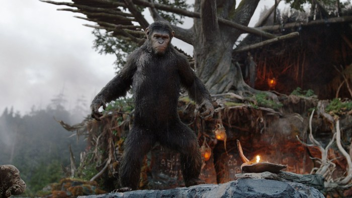 "This image released by 20th Century Fox shows Caesar, performed by Andy Serkis, in a scene from ""Dawn of the Planet of the Apes."" (AP Photo/20th Centu..."