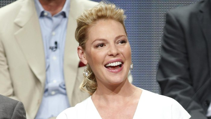 "Cast member Katherine Heigl laughs during a panel for the ""State of Affairs"" at the Television Critics Association NBCUniversal Summer Press Tour in B..."
