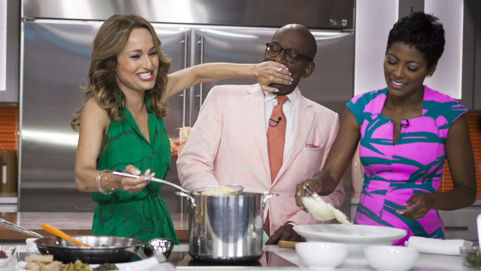 Giada De Laurentiis, Al Roker and Tamron Hall cook on the TODAY show in New York, on July 14, 2014.