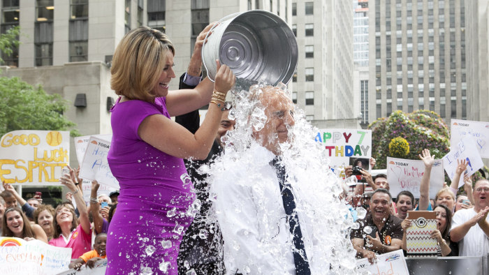 "TODAY Show: Matt Lauer participates in the viral sensation known as the ""ice bucket challenge"" on the plaza on July 15, 2014."