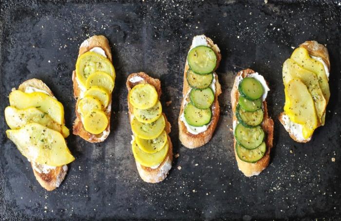 Summer squash crostini