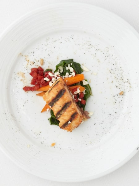 Grilled salmon with farro and swiss chard salad