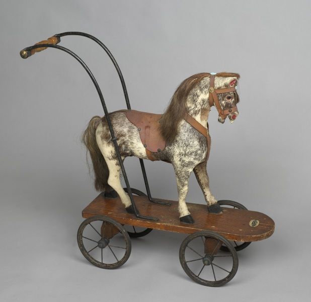 A toy horse on wheels that Princess Elizabeth and Princess Margaret played with in the 1930s