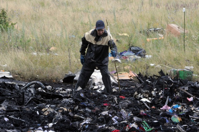 A man searches through wreckage at the crash site of Malaysia Airlines Flight 17.