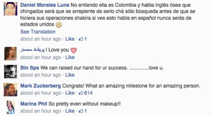 Facebook founder Mark Zuckerberg congratulated Shakira on making history.
